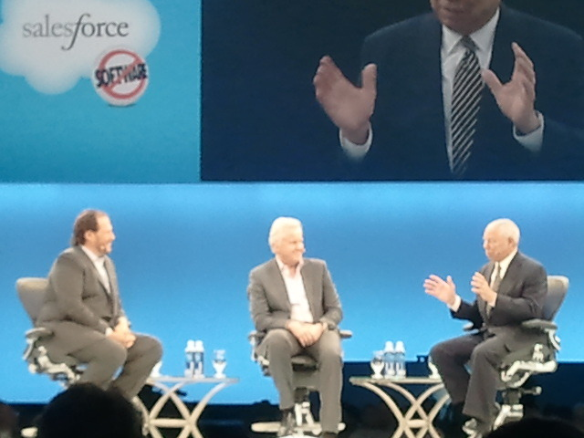Image by Ane Howard. From left to right: Salesforce CEO Marc Benioff with former Secretary of State General By Ane Howard: Colin Powell and Jeff Immelt, CEO of General Electric.