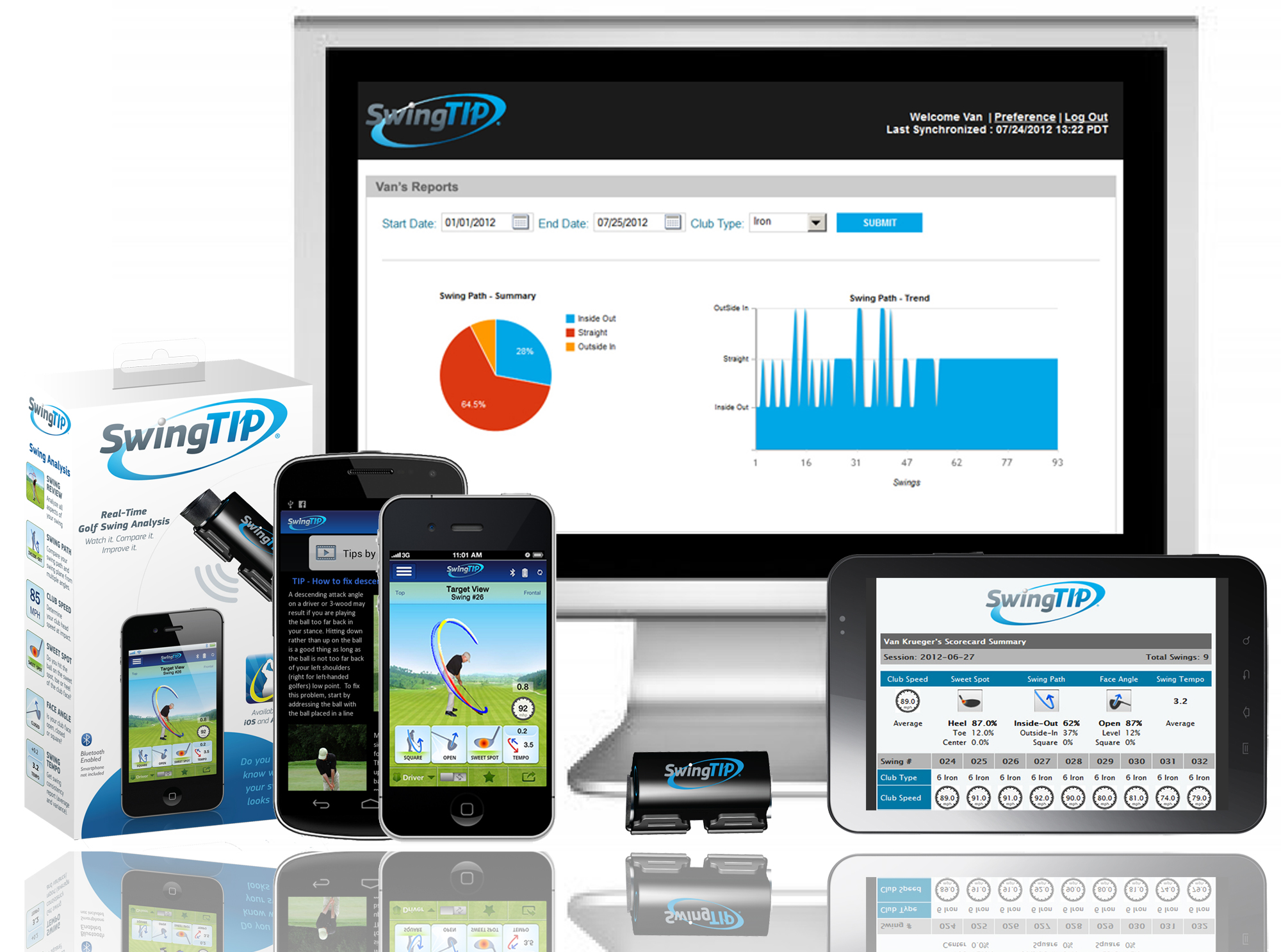 The SwingTIP Wireless Golf Swing Analysis App-Cessory Package