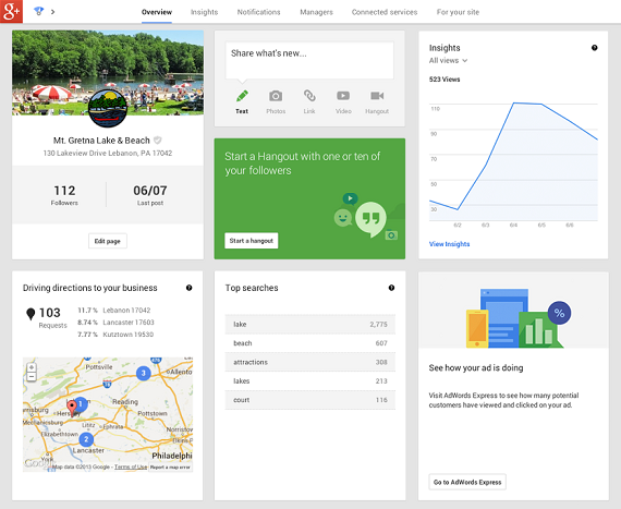 Google+ debuts new dashboard for businesses