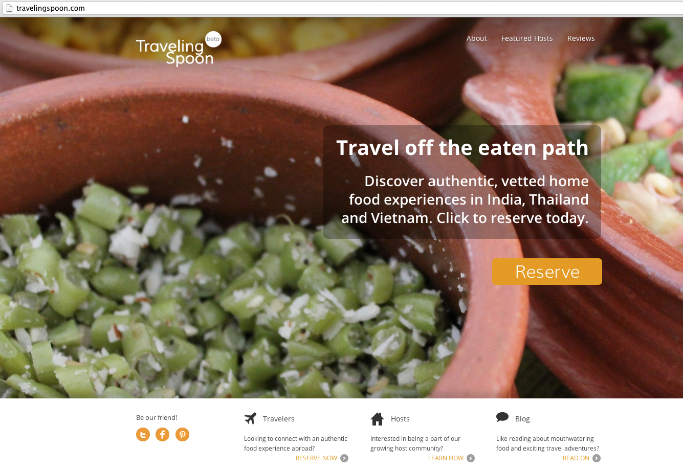 Traveling Spoon homepage
