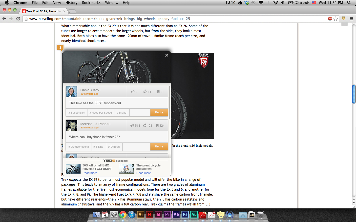 There are three sections to this image: 1. The condensed image; the user has clicked on the image and is using YEEZ.it to comment/ 2. There are two visible comments and one below the fold. 3. Content and ad recommendations; on the bottom line there are links to content and ads related to the selected bicycle image at top.