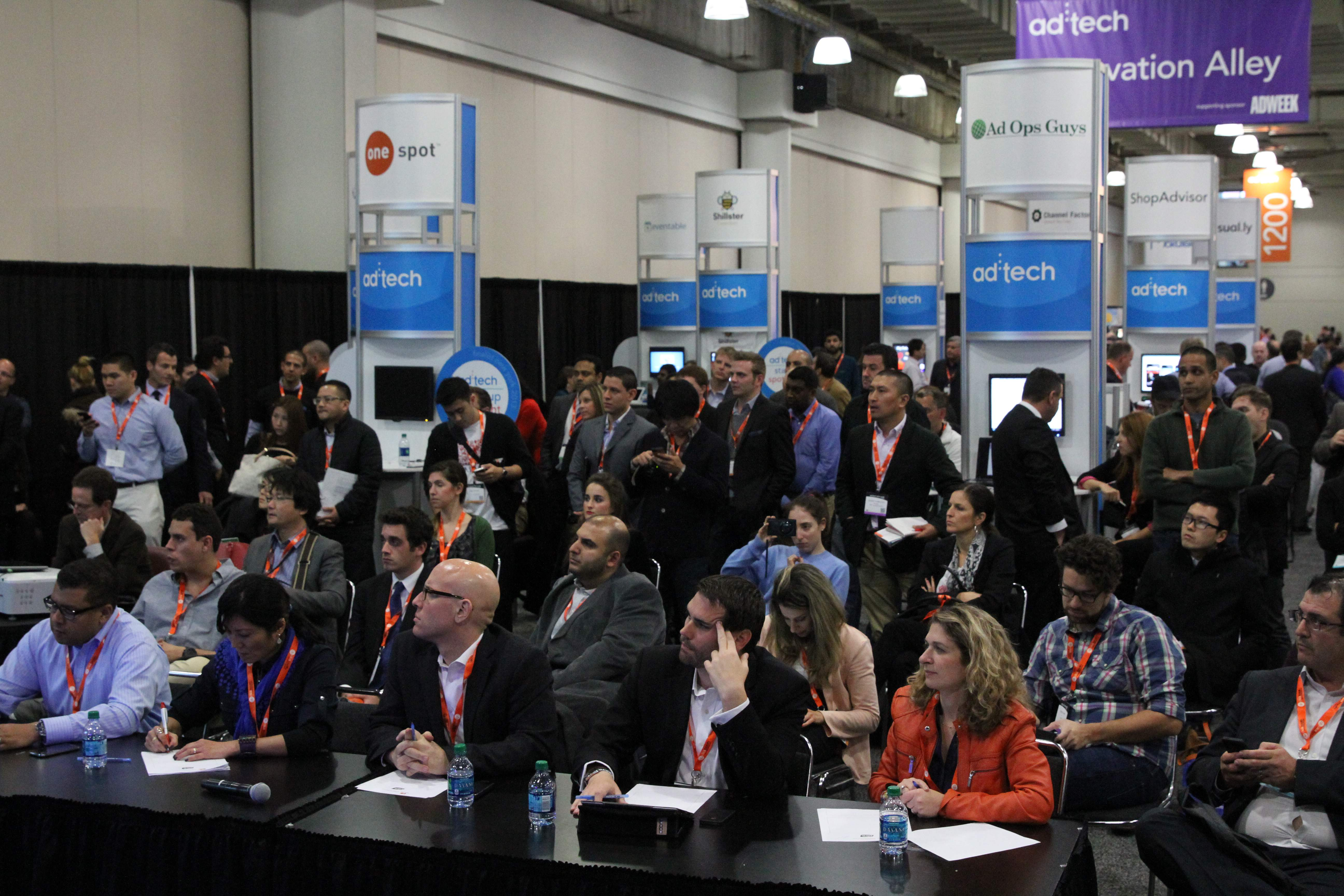 Senior MasterCard executives listen to startup pitches during the Startup Spotlight at ad:tech New York 2013.
