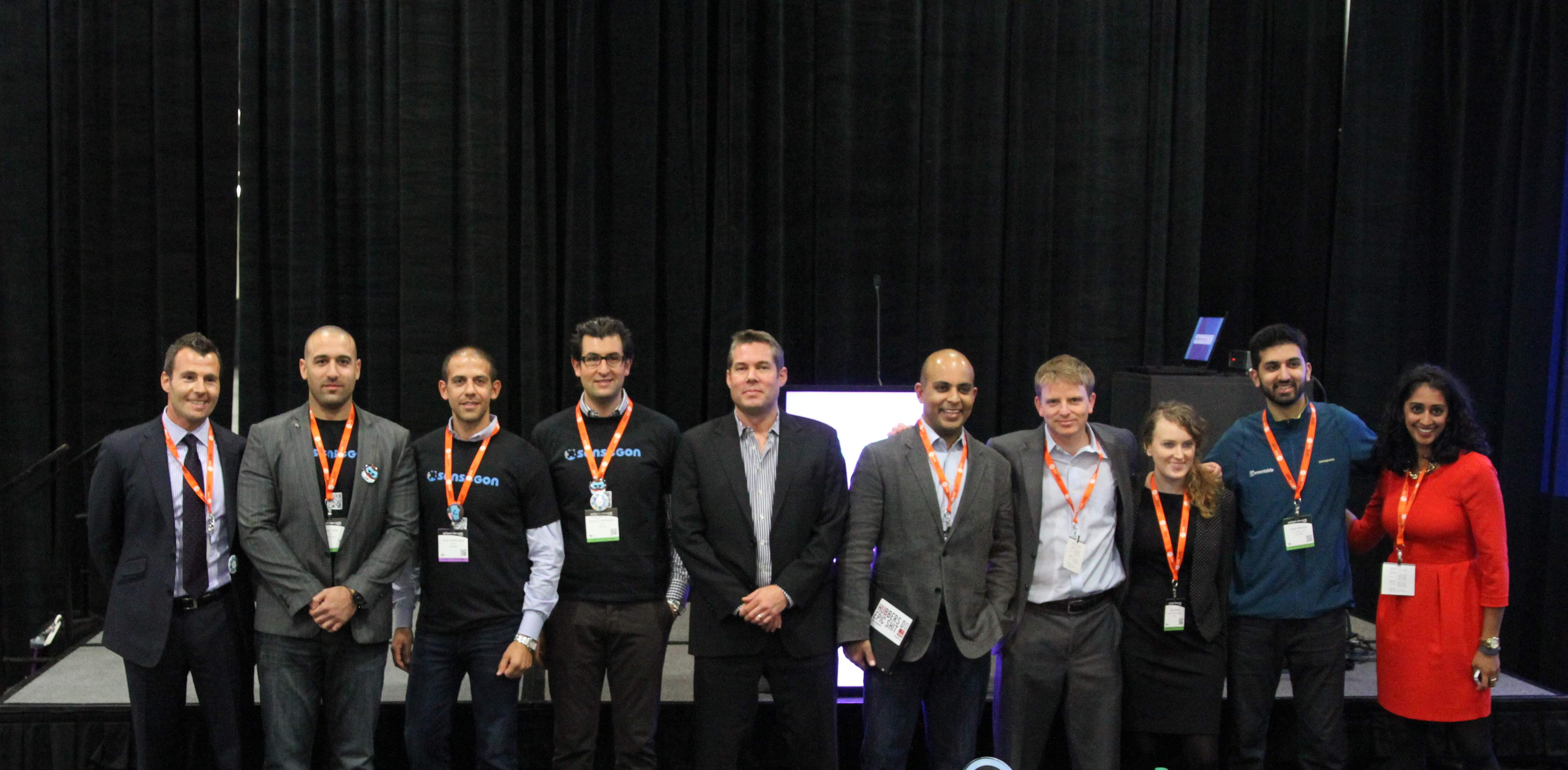 Finalists in the Startup Spotlight Series pose for a photo as judges from MasterCard deliberate.