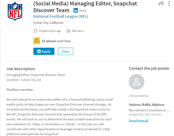 The NFL is looking to launch a channel on Snapchat Discover – Managing Editor Job Description