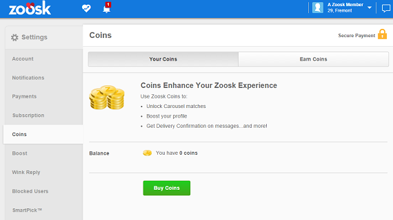 Zoosk costs